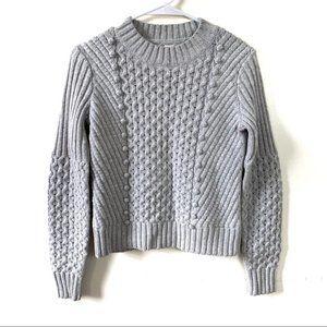 Rebecca Taylor La Vie Gray Sweater Cable Knit XS
